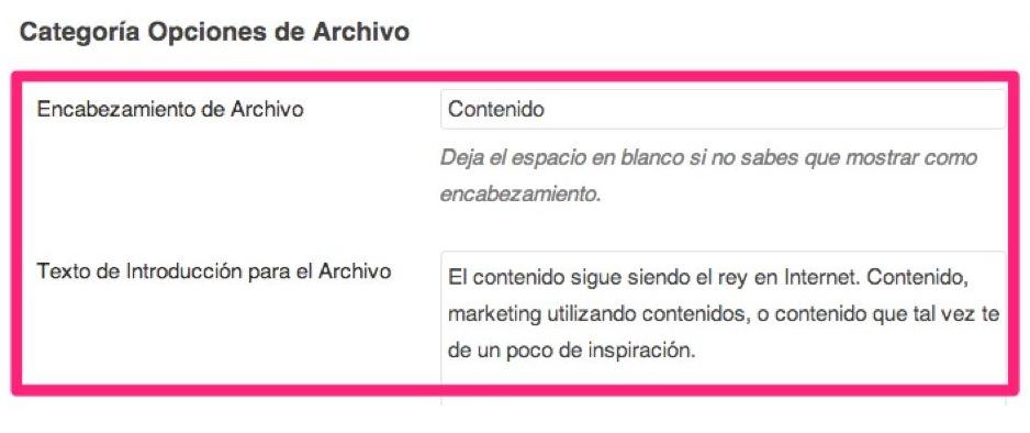 yoast categoria opciones de archivo