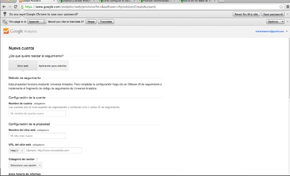 Cómo crear cuenta Google Analytics